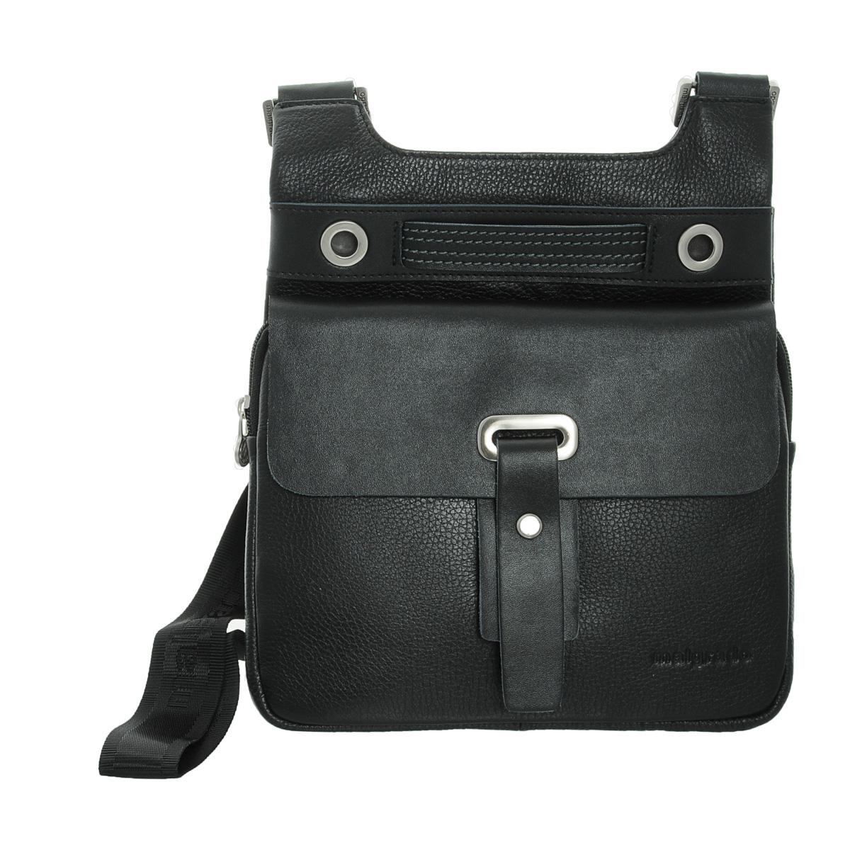 Сумка мужская Malgrado, цвет: черный. BR25-364C1869BR25-364C1869 black сумка мужская MalgradoОригинальная мужская сумка Malgrado из натуральной кожи. Сумка с удобным плечевым ремнем. Основное отделение закрывается на молнию. Спереди удобный карман, закрывающийся на молнию и хлястик на магнитной кнопке. Внутри - два кармашка для мелочей и мобильного телефона, три отверстия для ручек.