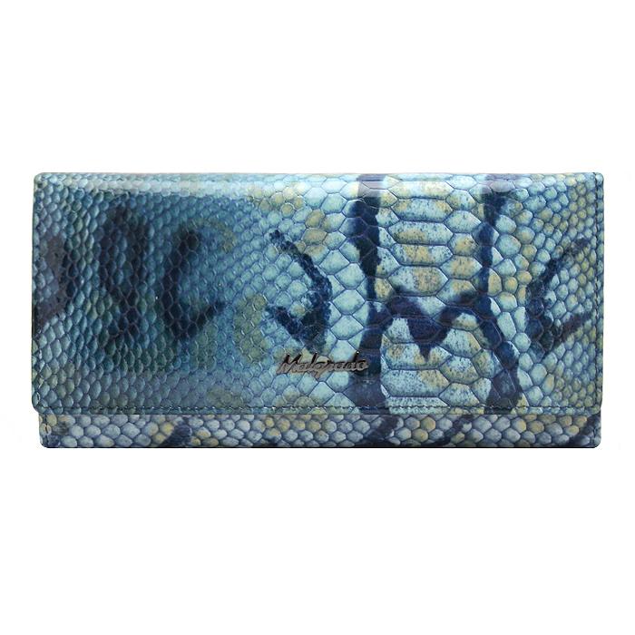 Кошелек женский Malgrado, цвет: голубой. 72076-1570772076-15707Стильный кошелек Malgrado изготовлен из натуральной кожи голубого цвета декоративным тиснением под рептилию и вмещает в себя купюры в развернутом виде в полную длину. Кошелек имеет шесть отделений для купюр и два дополнительных кармана на молнии. Также внутри расположены четыре кармана для дисконтных карт, визиток или кредиток, один прозрачный кармашек, в который можно положить пропуск, проездной документ или фотографию и два дополнительный потайных кармана. Снаружи с оборотной стороны расположен дополнительный карман на молнии. Закрывается кошелек клапаном на кнопку. Кошелек упакован в подарочную металлическую коробку с логотипом фирмы. Такой кошелек станет замечательным подарком человеку, ценящему качественные и практичные вещи. Характеристики: Материал: натуральная кожа, текстиль, металл. Размер кошелька: 18,5 см х 9,5 см х 3 см. Цвет: голубой. Размер упаковки: 23 см х 13 см х 4,5 см. Артикул: 73003-7003D.