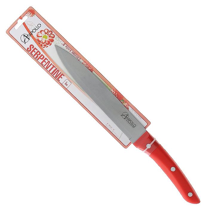 Нож для мяса Apollo Serpentine, цвет: красный, длина лезвия 20 смSTN-21Нож Apollo Serpentine изготовлен из высококачественной нержавеющей стали, обеспечивающей долгое сохранение заточки. Эргономичная рукоятка выполнена из высококачественного пищевого пластика красного цвета. Рукоятка не скользит в руках и делает резку удобной и безопасной. Нож замечателен для простого отделения мяса от костей, разделения его на порции и нарезки. Такой нож займет достойное место среди аксессуаров на вашей кухне.