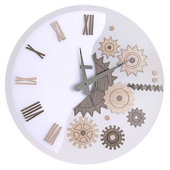 Часы настенные MeKKanico, кварцевые, цвет: белый, темно-бежевый. 654292654292Оригинальные настенные часы MeKKanico выполнены из синтетического матового стекла в круглом корпусе. Циферблат оформлен римскими цифрами, элементами в виде шестеренок, стилизованных под дерево и двумя стрелками часовой и минутной, выполненных из металла. На задней стенке расположены металлическая петелька для подвешивания и блок с часовым механизмом. Необычное дизайнерское решение и качество исполнения придутся по вкусу каждому. Оформите совой дом таким интерьерным аксессуаром или преподнесите его в качестве презента друзьям, и они оценят ваш оригинальный вкус и неординарность подарка. Характеристики: Материал: синтетическое матовое стекло, пластик, металл. Тип механизма: тикающий. Диаметр часов: 45 см. Размер упаковки: 47 см х 46 см х 5 см. Артикул: 654292. Рекомендуется докупить батарейку типа АА (не входит в комплект).