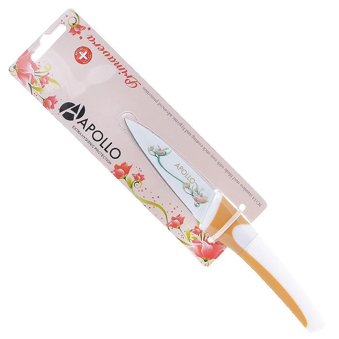 Нож для овощей Apollo Primavera, цвет: белый, оранжевый, длина лезвия 9 смPMV-04Нож Apollo Primavera изготовлен из высококачественной нержавеющей стали со специальным антибактериальным покрытием лезвия. Специальное нестираемое антибактериальное покрытие препятствует контакту продукта и стали, значительно увеличивает гигиенические свойства ножа. Эргономичная рукоятка выполнена из высококачественного пищевого прорезиненного пластика бело-оранжевого цвета. Рукоятка не скользит в руках и делает резку удобной и безопасной. Этот нож идеально шинкует, нарезает и измельчает продукты. Его острие опущено вниз, центр тяжести смещен вперед, что позволяет прикладывать меньше усилий при работе ножом. Такой нож займет достойное место среди аксессуаров на вашей кухне. Заточка ножа Apollo Primavera производится так же, как и обычного кухонного ножа. Не рекомендуется мыть в посудомоечной машине.