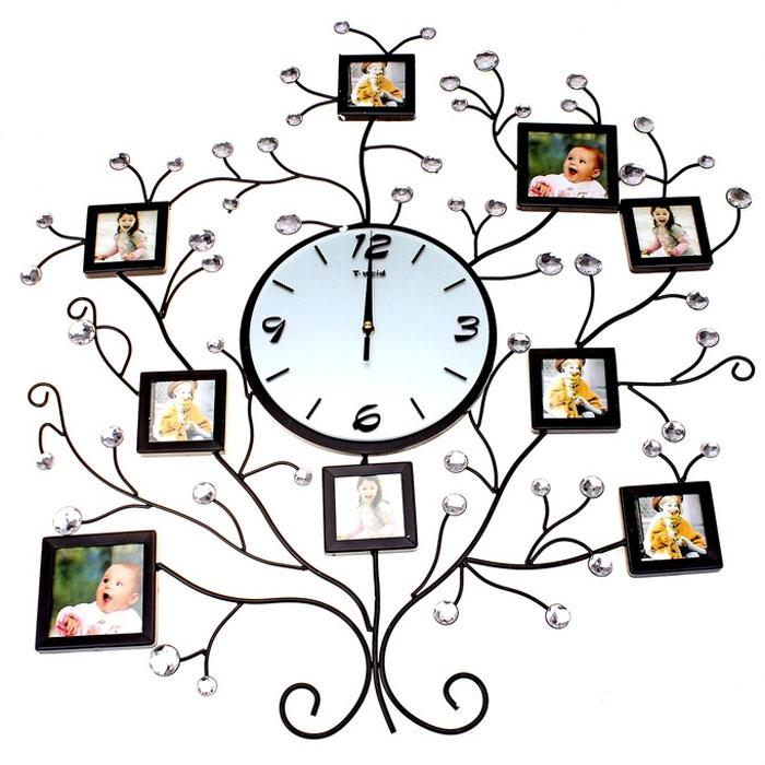 Часы настенные T-meid, с фоторамками на 9 фотографий. 672076672076Оригинальные часы T-meid с круглым циферблатом выполнены в виде дерева из металла, на ветвях которого размещаются квадратные фоторамки. Часы декорированы крупными стразами. Циферблат часов защищен стеклом. Часы с фоторамками отлично дополнят ваш интерьер или послужат отличным подарком. Необычное дизайнерское решение и качество исполнения придутся по вкусу каждому.