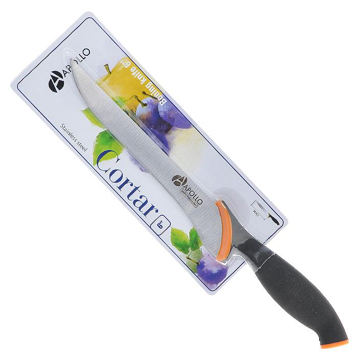 Нож филейный Apollo Cortar, цвет: черный, оранжевый, длина лезвия 15 смCOR-05Нож Apollo Cortar изготовлен из высококачественной нержавеющей стали. Эргономичная рукоятка выполнена из высококачественного пищевого прорезиненного пластика черно-оранжевого цвета. Рукоятка не скользит в руках и делает резку удобной и безопасной. Этот нож идеально шинкует, нарезает и измельчает продукты. Его острие опущено вниз, центр тяжести смещен вперед, что позволяет прикладывать меньше усилий при работе ножом. Такой нож займет достойное место среди аксессуаров на вашей кухне. Заточка ножа Apollo Cortar производится так же, как и обычного кухонного ножа. Не рекомендуется мыть в посудомоечной машине.