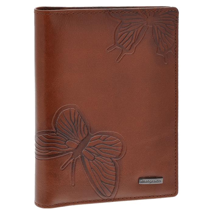 Обложка для паспорта Malgrado, цвет: коричневый. 54019-1-7002D54019-1-7002DСтильная обложка для паспорта Malgrado изготовлена из натуральной кожи коричневого цвета с декоративным тиснением в виде бабочек. Внутри содержит прозрачное пластиковое окно, съемный прозрачный вкладыш для полного комплекта автодокументов, пять отделений для кредитных и дисконтных карт. Обложка упакована в подарочную картонную коробку с логотипом фирмы. Такая обложка станет замечательным подарком человеку, ценящему качественные и практичные вещи.