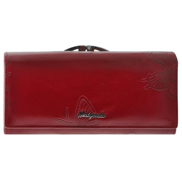 Кошелек женский Malgrado, цвет: красный. 72031-3-7003D72031-3-7003DСтильный кошелек Malgrado изготовлен из лаковой натуральной кожи красного цвета с декоративным тиснением в виде бабочек и вмещает в себя купюры в развернутом виде в полную длину. Внутри содержит три отделения для купюр, один дополнительный карман на молнии, один отдел для мелочи, который закрывается на рамочный замок и расположен снаружи кошелька. Также в кошельке расположены четыре кармана для дисконтных карт, визиток, кредиток, один прозрачный кармашек, в который можно положить пропуск, проездной документ или фотографию и дополнительный потайной карман. Закрывается кошелек клапаном на кнопку. Кошелек упакован в подарочную металлическую коробку с логотипом фирмы. Такой кошелек станет замечательным подарком человеку, ценящему качественные и практичные вещи.