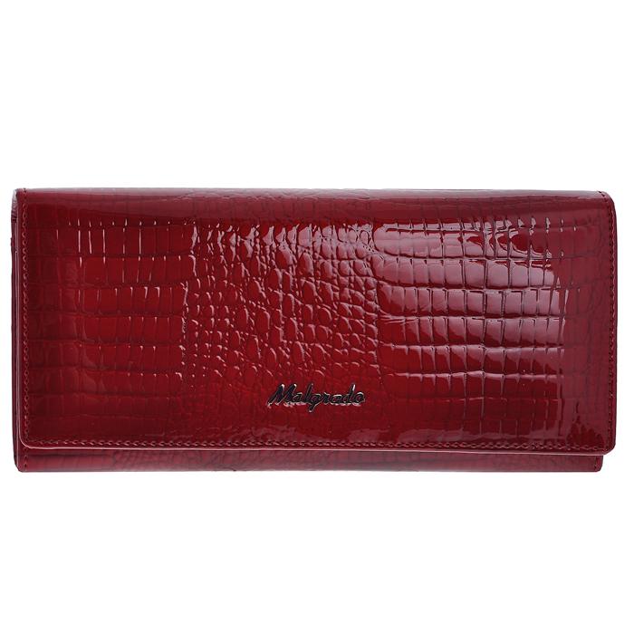 Кошелек женский Malgrado, цвет: красный. 72076-4472076-44Стильный кошелек Malgrado изготовлен из лаковой натуральной кожи красного цвета с декоративным тиснением под рептилию и вмещает в себя купюры в развернутом виде в полную длину. Внутри содержит шесть отделений для купюр, два дополнительных кармана на молнии, четыре кармана для дисконтных карт, визиток, кредиток, один прозрачный кармашек для пропуска, проездного или фотографии и два дополнительных потайных кармана. С оборотной стороны расположен карман на молнии. Закрывается кошелек клапаном на кнопку. Кошелек упакован в подарочную металлическую коробку с логотипом фирмы. Такой кошелек станет замечательным подарком человеку, ценящему качественные и практичные вещи.