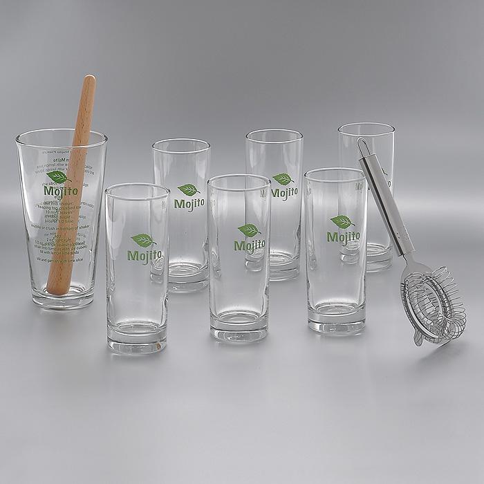 Набор для коктейля Мохито, 9 предметовАм 80926Набор для коктейля Мохито состоит из стакана для смешивания, 6 стаканов для мохито, фильтра и мадлера. Стаканы, выполненные из высококачественного стекла, декорированы надписью зеленого цвета Mojito и изображением листочка мяты. На стакане для смешивания на английском языке написан рецепт приготовления классического мохито, а также рецепты других видов мохито. В комплекте также имеется деревянный мадлер (толкушка для выжимания сока из фруктов прямо в стакане) и фильтр из нержавеющей стали. Впервые мохито был сделан в Гаване (Куба) в 1950 году. При его приготовлении использовали свежую мяту и ром. Комбинация этих экзотических вкусов быстро сделала коктейль любимым напитком кубинцев и символом их страны. Популярность коктейля быстро возрастала, и теперь весь мир обожает этот коктейль и считает его самым сексуальным напитком. Набор Мохито порадует всех любителей этого чудесного освежающего коктейля и поможет приготовить его в домашних условиях. Характеристики: ...