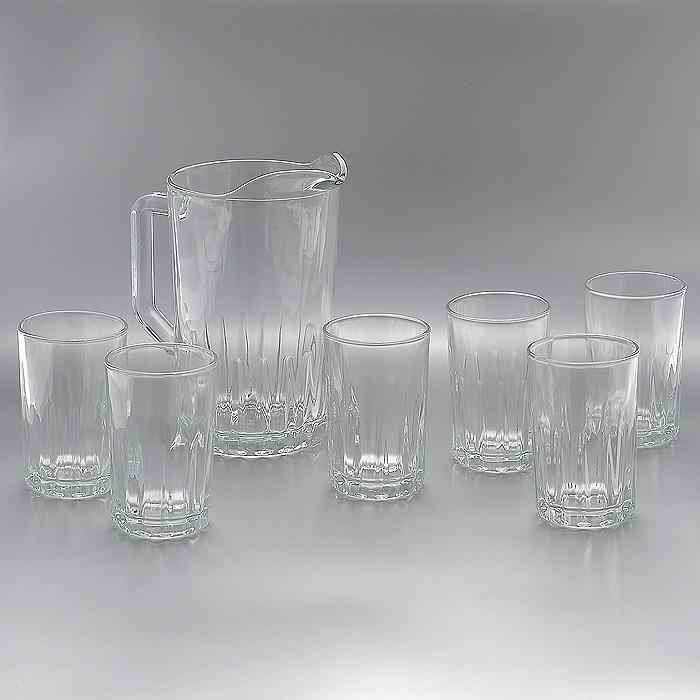Набор Kristalino: кувшин и стаканы, 7 предметовМк 1729Набор Kristalino, состоящий из шести стаканов и кувшина, несомненно, придется вам по душе. Стаканы и кувшин изготовлены из прочного высококачественного стекла. Благодаря такому набору пить напитки будет еще вкуснее. Набор Kristalino будет прекрасно смотреться за праздничным столом и на кухне в повседневной жизни.