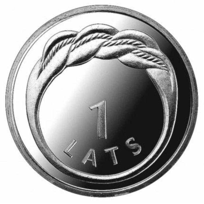 Монета номиналом 1 лат Кольцо Намейса. Латвия. 2009 годL2070 EМонета номиналом 1 лат Кольцо Намейса. Латвия. 2009 год. Диаметр 2,1 см. Сохранность UNC (без обращения). Тираж 1 млн. экземпляров.
