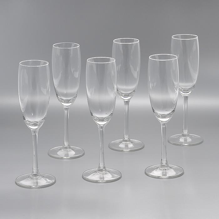 Набор бокалов для шампанского Flavours, 180 мл, 6 шт - Royal LeerdamГл 550474Набор Flavours, изготовленный из высококачественного стекла, состоит из шести бокалов на высоких ножках. Бокалы предназначены для подачи шампанского. Они сочетают в себе элегантный дизайн и функциональность. Благодаря такому набору пить напитки будет еще вкуснее. Набор бокалов Flavours идеально подойдет для сервировки стола и станет отличным подарком к любому празднику.