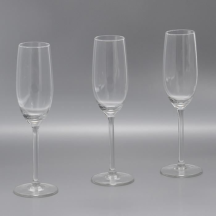 Набор бокалов для шампанского Jewel, 210 мл, 3 штГл 245714Набор Jewel, выполненный из высококачественного стекла, состоит из трех бокалов на высокой ножке. Бокалы предназначены для подачи шампанского. Их оценят как любители классики, так и те, кто предпочитает современный дизайн. Набор идеально подойдет для сервировки стола и станет отличным подарком к любому празднику.