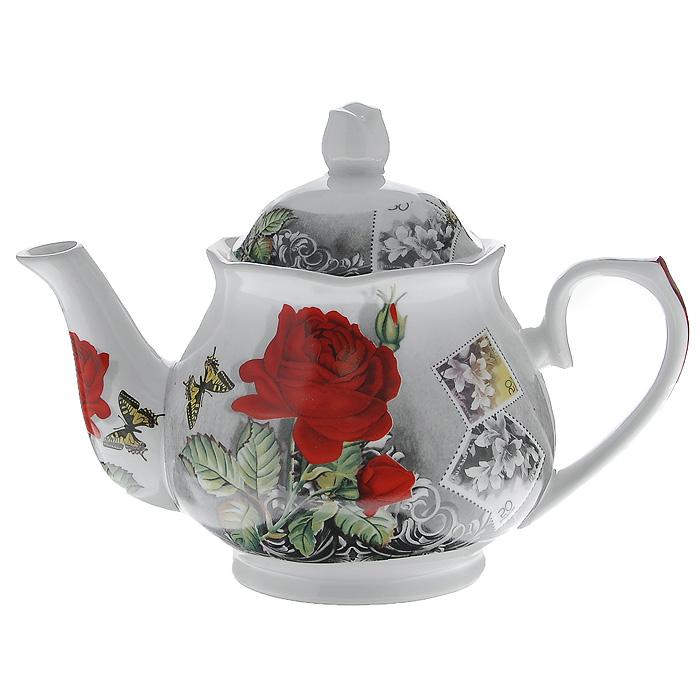Чайник заварочный Бабочка на розе, 1 л529-092Заварочный чайник Бабочка на розе изготовлен из высококачественного фарфора белого цвета. Он имеет изящную форму и декорирован красочным рисунком. Чайник сочетает в себе изысканный дизайн с максимальной функциональностью. Красочность оформления придется по вкусу и ценителям классики, и тем, кто предпочитает утонченность и изысканность. Характеристики: Материал: фарфор. Объем чайника: 1 л. Размер чайника (без крышки) (Д х Ш х В): 23 см х 14 см х 12 см. Размер упаковки (Д х Ш х В): 20 см х 14 см х 14 см. Производитель: Китай. Артикул: 529-092.
