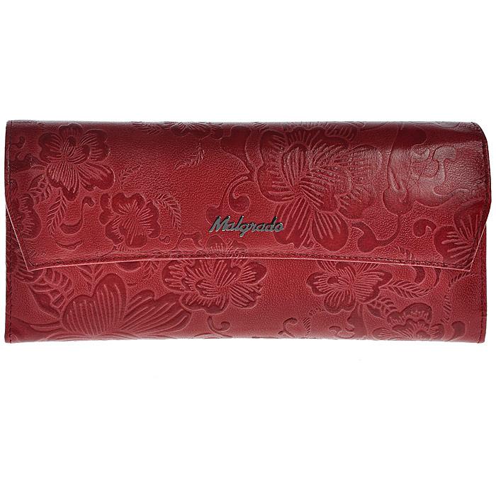 Кошелек женский Malgrado, цвет: красный. 75504-1820275504-18202Стильный кошелек Malgrado изготовлен из натуральной кожи красного цвета с декоративным тиснением в виде цветов и вмещает в себя купюры в развернутом виде в полную длину. Внутри содержит семь основных отделений, одно из которых на молнии, девять кармашков для карточек, визиток или кредиток. С оборотной стороны расположен карман. Закрывается кошелек клапаном на кнопку. Кошелек упакован в подарочную металлическую коробку с логотипом фирмы. Такой кошелек станет замечательным подарком человеку, ценящему качественные и практичные вещи.