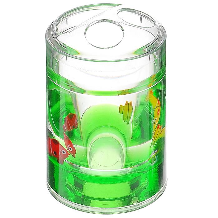 Стаканчик для зубных щеток Рыбки, цвет: зеленый860-55Стаканчик для зубных щеток Рыбки, изготовленный из прозрачного пластика, отлично подойдет для вашей ванной комнаты. Внутри стакана зеленый гелевый наполнитель с рыбками желтого и красного цвета. Стаканчик создаст особую атмосферу уюта и максимального комфорта в ванной.