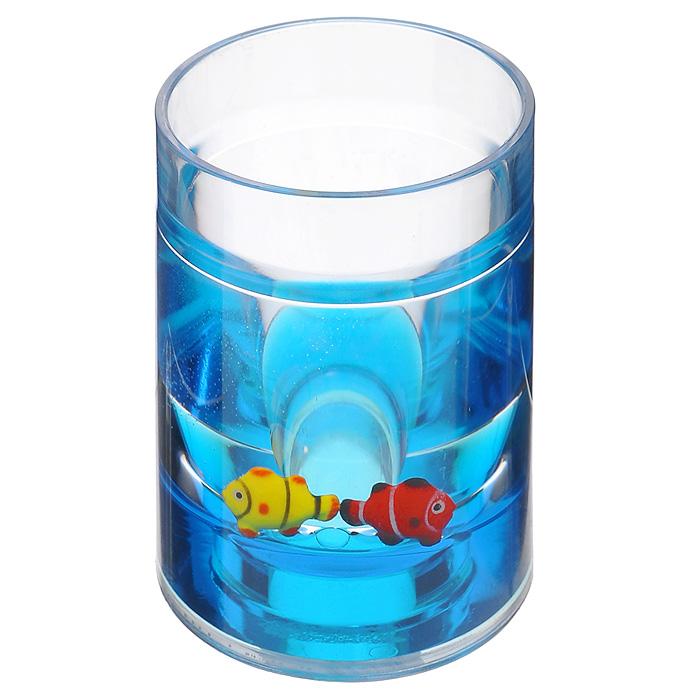 Стаканчик Рыбки850-31Стаканчик Рыбки, изготовленный из прозрачного пластика, отлично подойдет для вашей ванной комнаты. Внутри стакана синий гелиевый наполнитель с рыбками желтого и красного цветов. Стаканчик создаст особую атмосферу уюта и максимального комфорта в ванной.