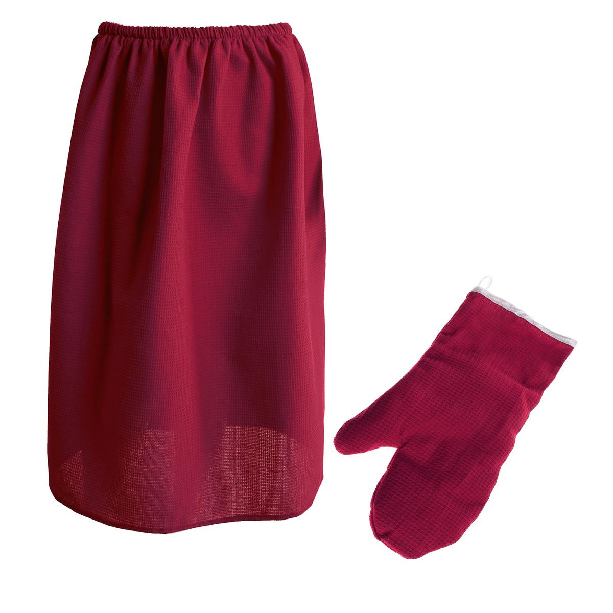 Комплект для бани и сауны Банные штучки женский, 2 предмета, цвет: бордовый32062Комплект для бани и сауны Банные штучки, выполненный из натурального хлопка бордового цвета, привлечет внимание любителей модных тенденций в банной одежде. Набор состоит из вафельной накидки и рукавицы. Накидка - это многофункциональное полотенце специального покроя с резинкой и застежкой. В парилке можно лежать на ней, после душа вытираться, а во время отдыха использовать как удобную накидку. Рукавица обезопасит ваши руки от горячего пара или ручки ковша. Рукавицей можно также прекрасно помассировать тело. Такой набор будет приятно получить в подарок каждому.