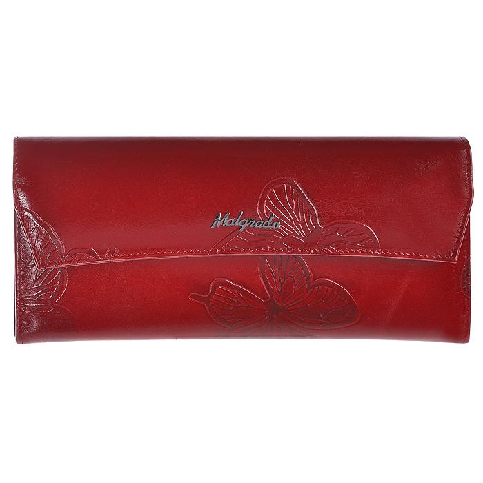 Кошелек женский Malgrado, цвет: красный. 75504-7003D Red75504-7003D RedЖенский кошелек Malgrado выполнен из натуральной кожи высшего качества с декоративным тиснением в виде бабочек. Внутри кошелек содержит четыре отделения для купюр, отделение для мелочи на молнии, карман для бумаг и чеков, девять кармашков для кредитных карт или визиток. Закрывается кошелек клапаном на кнопку. На задней стенке с лицевой стороны расположен дополнительный открытый карман для бумаг. Кошелек упакован в фирменную металлическую коробку.