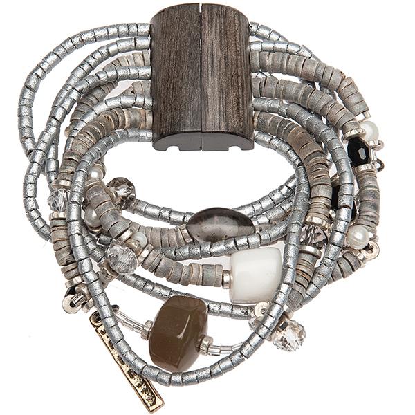 Браслет Enigma, цвет: серебристый. 4004230040042300Оригинальный браслет Enigma, выполненный из металла с различными элементами с гальваническим золочением и покрытием родием, декорирован речным жемчугом, ювелирной смолой, бисером и стразами Swarovski. Такой браслет позволит вам с легкостью воплотить самую смелую фантазию и создать собственный, неповторимый образ. Браслет застегивается на замок из пальмового дерева на магните.