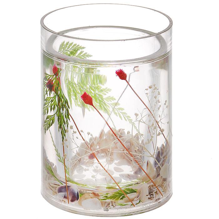 Стаканчик Маки857-06Стаканчик Маки, изготовленный из прозрачного пластика, отлично подойдет для вашей ванной комнаты. Внутри стакана прозрачный гелевый наполнитель с маленькими ракушками и веточками красного и зеленого цвета. Стаканчик создаст особую атмосферу уюта и максимального комфорта в ванной. Характеристики: Материал: пластик, акрил, гелевый наполнитель. Цвет: зеленый, белый, красный. Диаметр стаканчика по верхнему краю: 7,3 см. Высота стаканчика: 10,5 см. Производитель: Швеция. Изготовитель: Китай. Размер упаковки: 8,5 см х 8,5 см х 12,5 см. Артикул: 857-06.