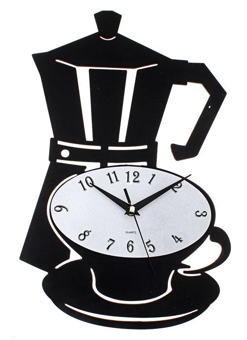 Часы настенные Кофейная пара. 670816670816Кварцевые настенные часы Кофейная пара - это функциональное устройство, которое оригинально украсит интерьер вашей кухни. Часы выполнены из черного пластика в виде чашки с блюдцем и чайника. Часы имеют три стрелки - часовую, минутную и секундную. Циферблат овальной формы изготовлен из пластика серебристого цвета. Часы легко можно подвесить в удобном для вас месте. Кроме того, такие настенные часы могут стать отличным подарком для ценителя ярких и качественных вещей.