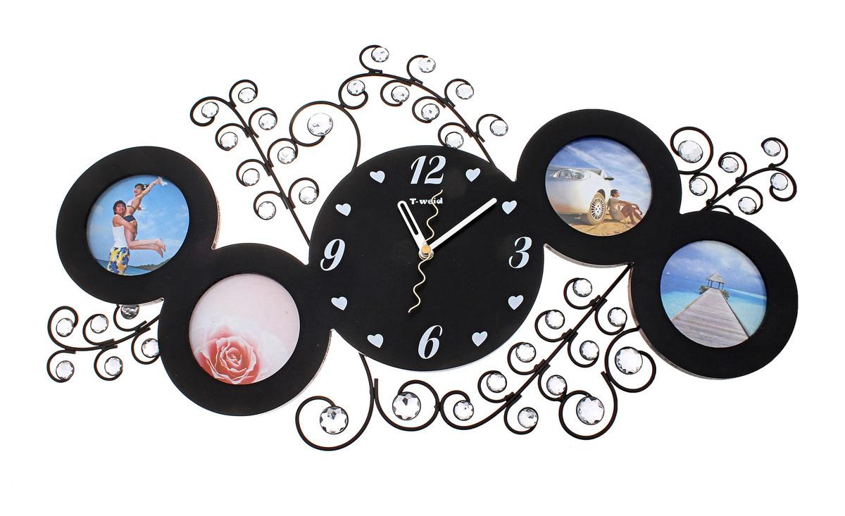 Часы настенные Хайтек, кварцевые, с фоторамками на 4 фотографии. 672065672065Настенные кварцевые часы Хайтек своим дизайном подчеркнут стильность и оригинальность интерьера вашего дома. Корпус часов выполнен из металла и дерева с черным покрытием, оформлен четырьмя круглыми фоторамками и декорирован изображениями веток и украшен стразами. Циферблат часов, изготовленный из дерева, оформлен нарисованными метками в виде сердечек и цифр и тремя стрелками - часовой, минутной и секундной (не защищены стеклом). На задней стенке расположена металлическая петелька для подвешивания и блок с часовым механизмом. Такие часы послужат отличным подарком для ценителя ярких и необычных вещей.