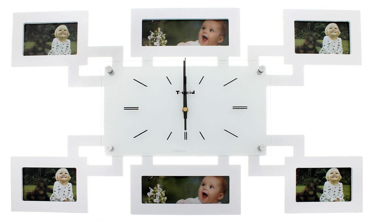 Часы настенные Sima-land Хайтек, кварцевые, с фоторамками на 6 фотографий. 672066672066Настенные кварцевые часы Sima-land Хайтек своим дизайном подчеркнут стильность и оригинальность интерьера вашего дома. Корпус часов выполнен из дерева с белым покрытием и оформлен шестью фоторамками разных размеров. Часы имеют три стрелки - часовую, минутную и секундную. Стрелки защищены толстым стеклом (4 мм), которое крепится четырьмя металлическими штырьками. Метки нанесены черной краской с внутренней стороны стекла. На задней стенке часов расположена металлическая петелька для подвешивания и блок с часовым механизмом. Такие часы послужат отличным подарком для ценителя ярких и необычных вещей. Рекомендуется докупить батарейку типа АА (не входит в комплект).