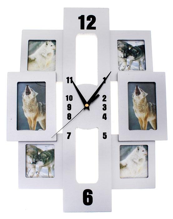 Часы настенные Хайтек, кварцевые, с 6 фоторамками. 672073672073Настенные кварцевые часы Хайтек - это прекрасный предмет декора, а также универсальный подарок практически по любому поводу. Корпус часов, выполнен из дерева с серебристым покрытием, оформлен шестью фоторамками. Основная прямоугольная рамка, вместо циферблата оснащена тремя фигурными стрелками: часовой, минутной и секундной. Цифры нанесены черной краской на рамке сверху. На задней стенке часов расположена металлическая петелька для подвешивания и блок с часовым механизмом. Часы с рамками прекрасно впишутся в любой интерьер. В зависимости оттого, что вы поместите в рамки, будет меняться и стиль часов.