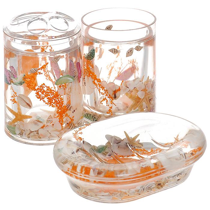 Набор гелевых аксессуаров для ванной комнаты Морское дно, 3 предмета339-00Набор аксессуаров для ванной комнаты Морское дно состоит из стакана, мыльницы и стакана для зубных щеток. Предметы набора выполнены из прозрачного пластика. Внутри - гелевый наполнитель с оранжевыми веточками, ракушками и морскими звездами. Набор Морское дно создаст особую атмосферу уюта и максимального комфорта в ванной. Характеристики: Материал: пластик, акрил, гелевый наполнитель. Размер мыльницы: 13,5 см х 10 см х 3 см. Диаметр стакана для зубных щеток (по верхнему краю): 7 см. Высота стакана для зубных щеток: 12,5 см. Диаметр стакана по верхнему краю: 7 см. Высота стакана: 10,5 см. Производитель: Швеция. Размер упаковки: 23 см х 8 см х 14 см. Артикул: 339-00.