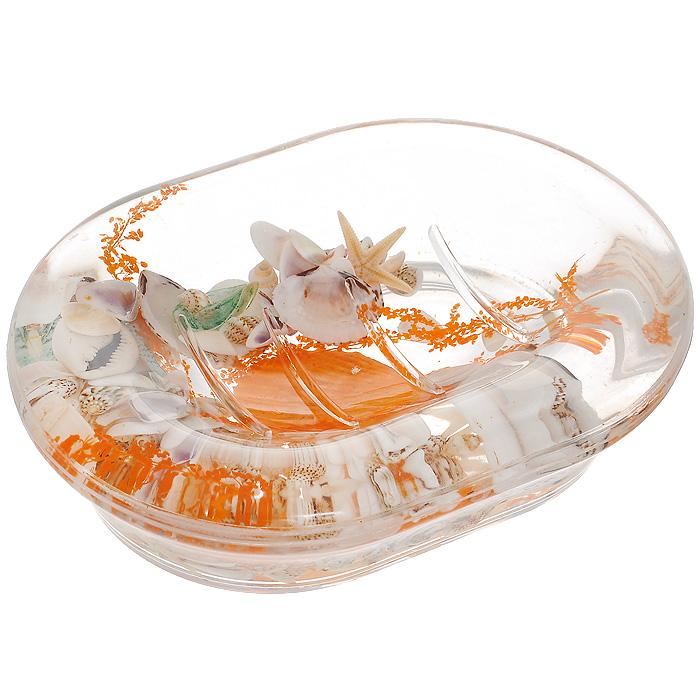 Мыльница Морское дно339-04Оригинальная мыльница Морское дно, изготовленная из прозрачного пластика, отлично подойдет для вашей ванной комнаты. Внутри мыльницы гелиевый наполнитель с морской звездой, ракушками и веточкой. Мыльница создаст особую атмосферу уюта и максимального комфорта в ванной.