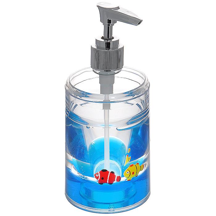 Дозатор для жидкого мыла Рыбки, цвет: синий870-31Дозатор для жидкого мыла Рыбки, изготовленный из прозрачного пластика, отлично подойдет для вашей ванной комнаты. Дозатор имеет двойные стенки, между которыми находится синий гелевый наполнитель с рыбками желтого и красного цветов. Такой аксессуар очень удобен в использовании, достаточно лишь перелить жидкое мыло в дозатор, а когда необходимо использование мыла, легким нажатием выдавить нужное количество. Дозатор для жидкого мыла Рыбки создаст особую атмосферу уюта и максимального комфорта в ванной. Характеристики: Материал: пластик, акрил, гелевый наполнитель. Цвет: синий, желтый, красный. Размер дозатора: 8 см х 8 см х 17 см. Производитель: Швеция. Изготовитель: Китай. Размер упаковки: 8 см х 8 см х 17,5 см. Артикул: 870-31.