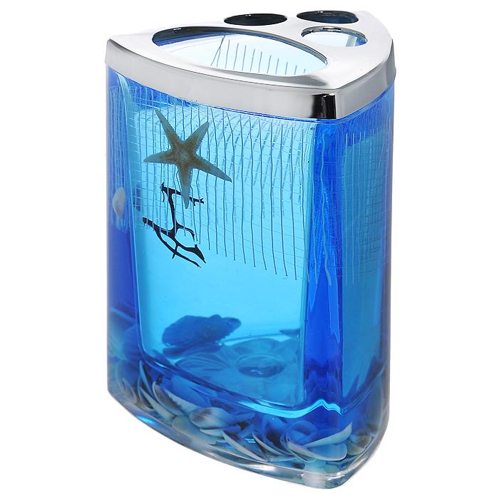 Стаканчик для зубных щеток Seastar Blue867-37Стаканчик для зубных щеток Seastar Blue, изготовленный из прозрачного пластика, отлично подойдет для вашей ванной комнаты. Стаканчик имеет двойные стенки, между которыми находится синий гелевый наполнитель с маленькими ракушками, морской звездой и белой сеткой. Стаканчик для зубных щеток Seastar Blue создаст особую атмосферу уюта и максимального комфорта в ванной.