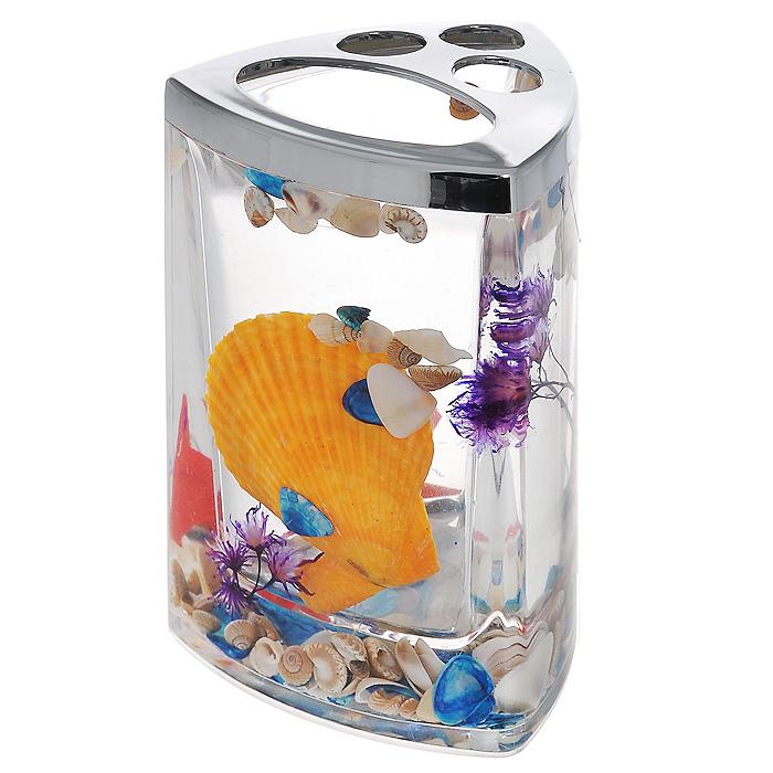Стаканчик для зубных щеток Fantasy867-48Стаканчик для зубных щеток Fantasy, изготовленный из прозрачного пластика, отлично подойдет для вашей ванной комнаты. Стаканчик имеет двойные стенки, между которыми находится прозрачный гелевый наполнитель с разноцветными ракушками, красной морской звездой и сиреневой веточкой. Стаканчик для зубных щеток Fantasy создаст особую атмосферу уюта и максимального комфорта в ванной. Характеристики: Материал: пластик, акрил, гелевый наполнитель. Цвет: оранжевый, голубой, сиреневый, красный. Размер стаканчика: 7,5 см х 7,5 см х 11 см. Производитель: Швеция. Изготовитель: Китай. Размер упаковки: 8 см х 8 см х 11,5 см. Артикул: 867-48.