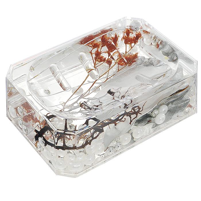 Мыльница Silver Leaf887-89Оригинальная мыльница Silver Leaf, изготовленная из пластика, отлично подойдет для вашей ванной комнаты. Внутри мыльницы прозрачный гелевый наполнитель с серебристыми и белыми бусинами, красной веточками и листочками. Мыльница создаст особую атмосферу уюта и максимального комфорта в ванной.