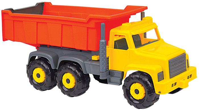 Полесье Самосвал Супергигант цвет желтый оранжевый5113Яркий самосвал Супергигант, изготовленный из прочного безопасного пластика, отлично подойдет ребенку для различных игр. Кабина самосвала выполнена из пластика желтого и серого цветов, а кузов - оранжевого цвета. Вместительный кузов самосвала поднимается и опускается. Шесть больших и широких колес обеспечивают машине устойчивость и хорошую проходимость. Ваш юный строитель сможет прекрасно провести время дома или на улице, подвозя к месту игрушечной стройки необходимые предметы на этом красочном самосвале. Характеристики: Материал: пластик, металл. Размер самосвала: 78 см x 27 см x 33 см.