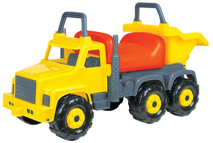 Автомобиль-каталка Супергигант-2 цвет: в ассортименте7889Яркий автомобиль-каталка Супергигант-2 станет отличным транспортным средством для вашего ребенка. Каталка выполнена из прочного пластика в виде мощного грузовика. Автомобиль оборудован удобным и широким сиденьем, ручкой, расположенной над кабиной автомобиля, спинкой и шестью широкими пластиковыми колесами, благодаря которым каталка обладает хорошей устойчивостью и абсолютной безопасностью. Супергигант снабжен опрокидывающимся кузовом, в котором можно перевозить игрушки или другие вещи. Для того чтобы покататься, ребенку достаточно просто сесть на сиденье и, отталкиваясь ногами, катиться вперед. Автомобиль-каталка Супергигант-2 улучшает координацию движений ребенка, баланс и моторику. На этой замечательной каталке ребенок будет чувствовать себя комфортно и безопасно, а прогулки станут веселее и интереснее.