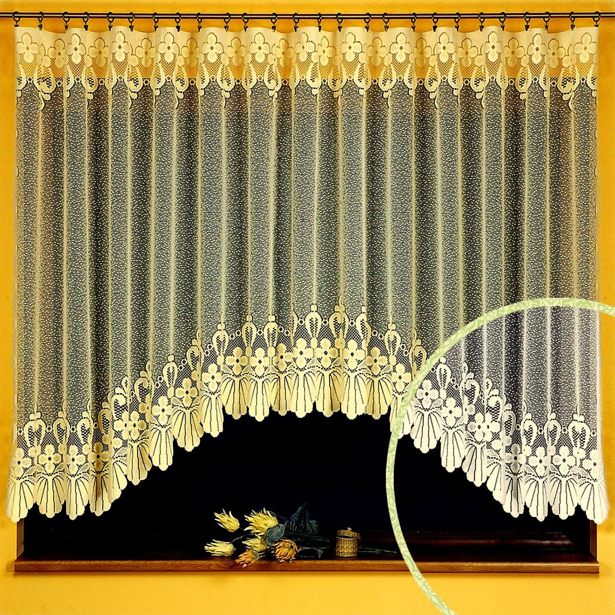 Гардина Ewa, цвет: кремовый, высота 150 см469918Гардина Ewa, выполненная из легкого полиэстера кремового цвета, станет великолепным украшением любого окна. Тонкое плетение, оригинальный дизайн и нежная цветовая гамма привлекут внимание и украсят интерьер помещения. Гардина крепится к карнизу только с помощью зажимов (в комплект не входят).