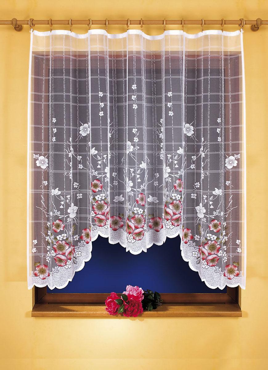 Гардина Muza, цвет: белый, высота 160 см607471Гардина Muza, изготовленная из полиэстера белого цвета, станет великолепным украшением кухонного окна. Тонкое плетение и яркий цветочный принт привлекут к себе внимание и органично впишутся в интерьер. Гардина крепится к карнизу только при помощи зажимов (в комплект не входят).