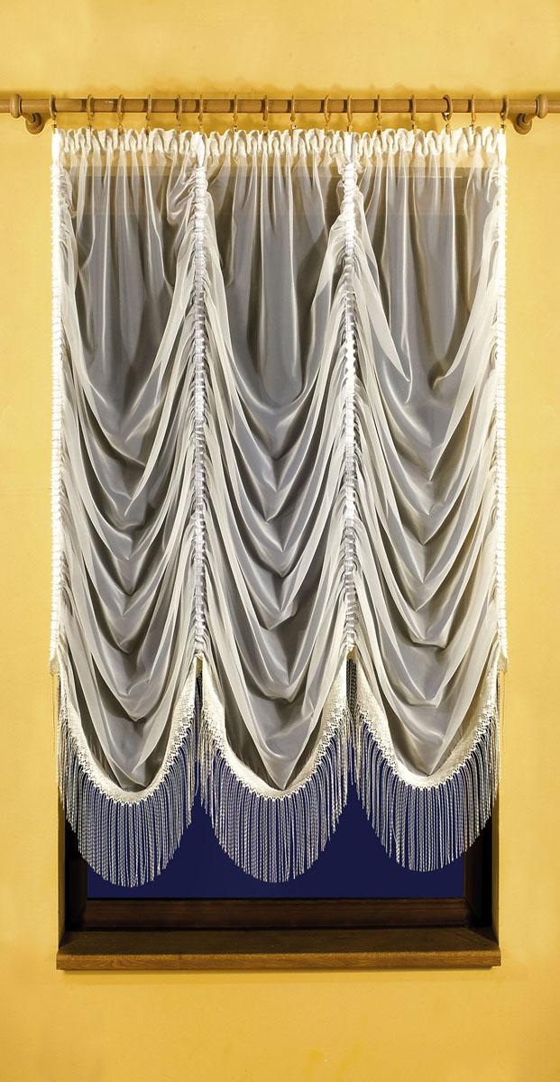 Гардина Karina, на ленте, цвет: кремовый, высота 150 см620371Вуалевая гардина Karina, изготовленная из полиэстера кремового цвета, станет великолепным украшением любого окна. По всей поверхности гардина оформлена сборками, нижняя часть украшена бахромой. Оригинальный дизайн и необычное исполнение привлекут внимание и украсят интерьер помещения. Гардина оснащена шторной лентой.