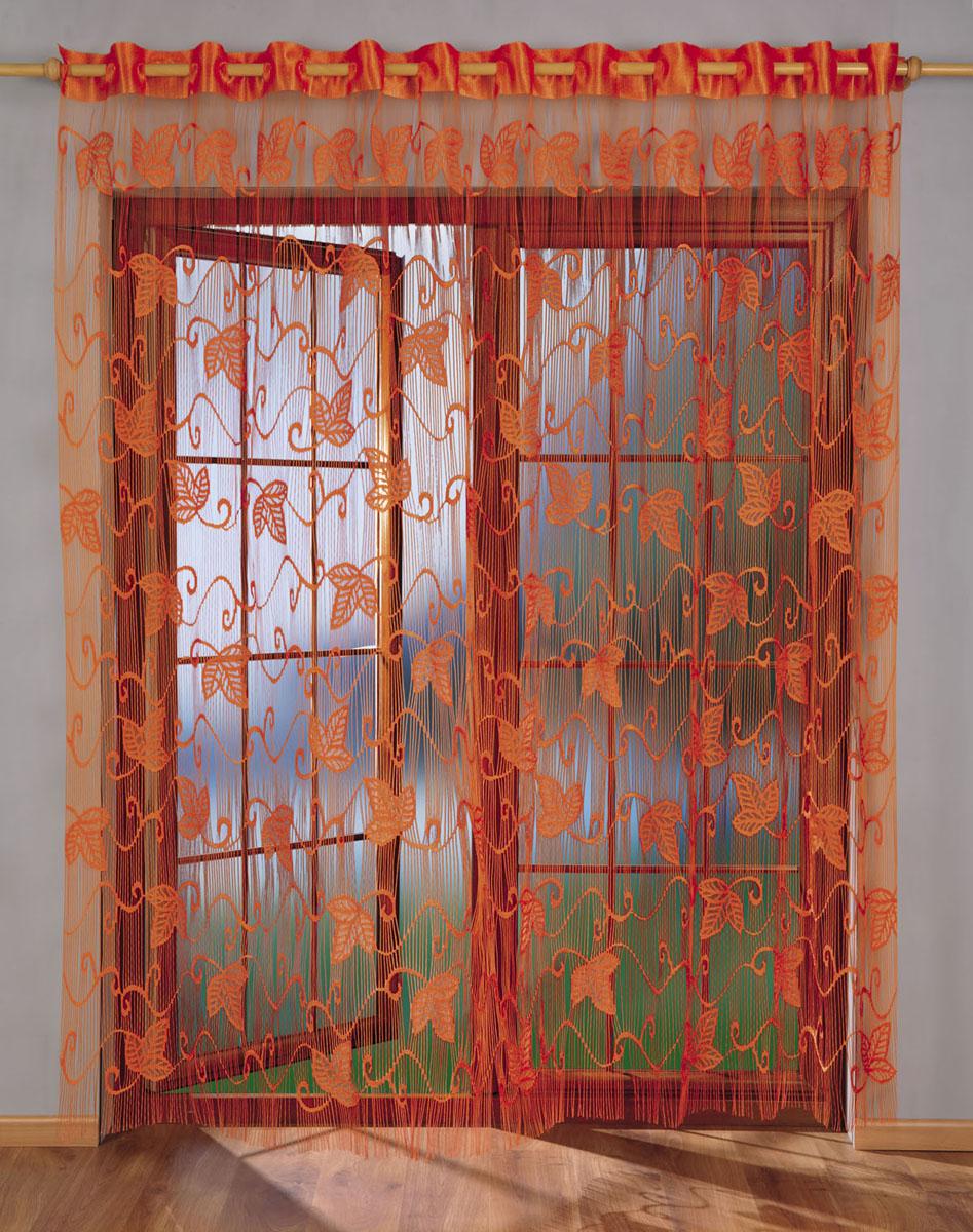 Гардина-лапша Laura, на петлях, цвет: оранжевый, высота 250 см676064Гардина-лапша Laura, изготовленная из полиэстера оранжевого цвета, станет великолепным украшением любого окна. Гардина-лапша отличается от других видов гардин тем, что имеет основание в виде листочков, на которые крепится бахрома. Это отличное решение как для гардины на окно, так и для портьеры в дверной проем или просто занавески для разграничения пространства в комнате. Гардина-лапша оснащена петлями для крепления на круглый карниз. Характеристики: Материал: 100% полиэстер. Цвет: оранжевый. Высота петли: 6 см. Размер упаковки: 29 см х 6 см х 36 см. Артикул: 676064. В комплект входит: Гардина-лапша - 1 шт. Размер (ШхВ): 270 см х 250 см. Фирма Wisan на польском рынке существует уже более пятидесяти лет и является одной из лучших польских фабрик по производству штор и тканей. Ассортимент фирмы представлен готовыми комплектами штор для гостиной, детской, кухни, а также текстилем для кухни (скатерти, салфетки, дорожки, кухонные...