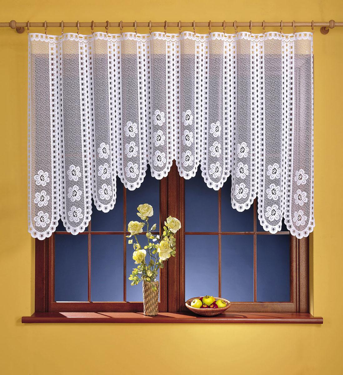 Гардина Kasia, цвет: белый, высота 120 см676187Гардина Kasia, изготовленная из полиэстера белого цвета, станет великолепным украшением любого окна. Тонкое плетение, оригинальный дизайн и красивый цветочный узор привлекут к себе внимание и органично впишутся в интерьер комнаты. Верхняя часть гардины не оснащена креплениями.