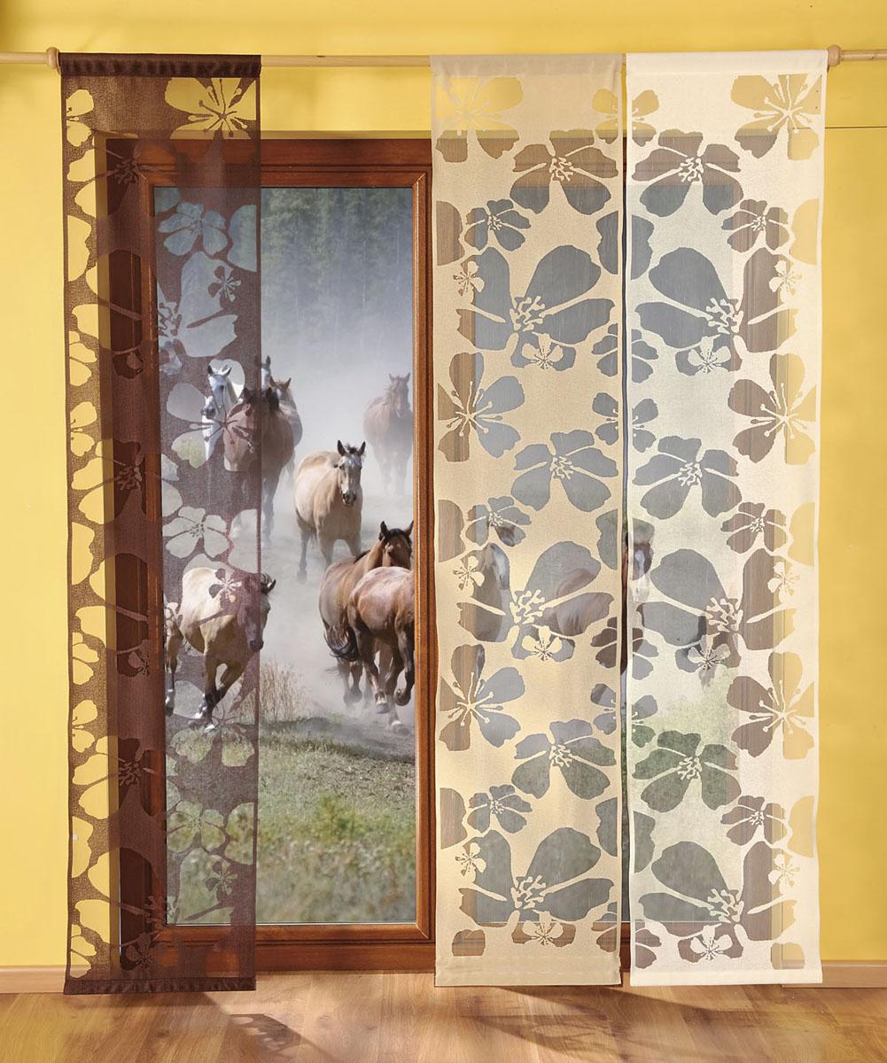 Гардина-панно Kwiaty, на кулиске, цвет: капучино, высота 240 см676378Гардина-панно Kwiaty, изготовленная из полиэстера цвета капучино, станет великолепным украшением любого окна. Это отличное решение как для гардины на окно, так и для портьеры в дверной проем или просто занавески для разграничения пространства в комнате. В нижней части гардины-панно установлен пластиковый прут жесткости, тем самым гардина будет вертикально висеть. Тонкое плетение и оригинальный рисунок в виде цветов привлекут к себе внимание и органично впишутся в интерьер комнаты. Гардина оснащена кулиской для крепления на круглый карниз. Характеристики: Материал: 100% полиэстер. Цвет: капучино. Высота кулиски: 6 см. Размер упаковки: 56 см х 5 см х 5 см. Артикул: 676378. В комплект входит: Гардина-панно - 1 шт. Размер (ШхВ): 50 см х 240 см. Фирма Wisan на польском рынке существует уже более пятидесяти лет и является одной из лучших польских фабрик по производству штор и тканей. Ассортимент фирмы представлен готовыми...