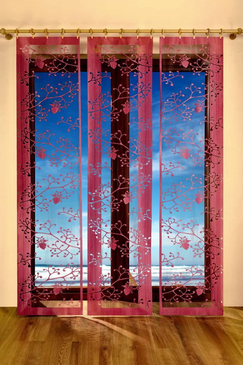 Гардина-панно Trio, цвет: бордовый, черный, высота 250 см683024Воздушная гардина-панно Trio, изготовленная из полиэстера черного и бордового цветов, станет великолепным украшением любого окна. Тонкое плетение, оригинальный принт привлекут к себе внимание и органично впишется в интерьер комнаты. Верхняя часть гардины не оснащена креплениями.