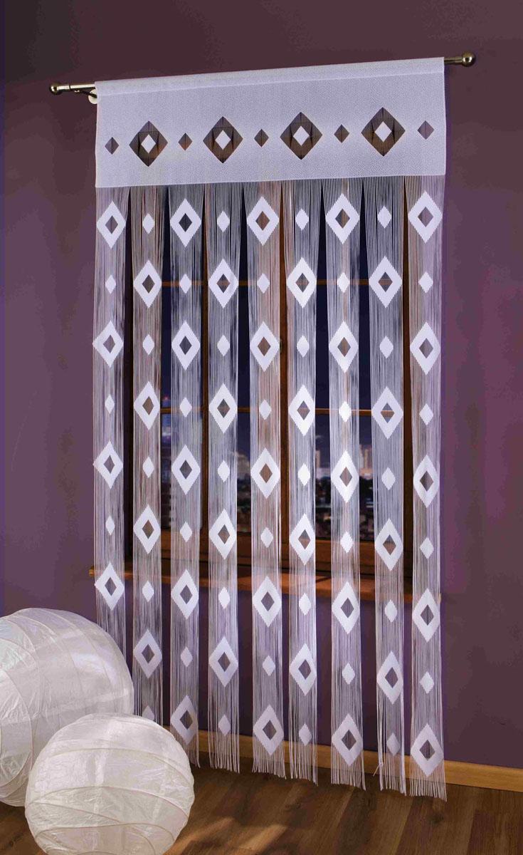 Гардина-лапша Morfeusz, на кулиске, цвет: белый, высота 250 см696857Гардина-лапша Morfeusz, изготовленная из полиэстера белого цвета, станет великолепным украшением окна, дверного проема и прекрасно послужит для разграничения пространства. Гардина украшена мелкой бахромой и графическим принтом в виде ромбов. Необычный дизайн и яркое оформление привлекут внимание и органично впишутся в интерьер. Гардина-лапша оснащена кулиской для крепления на круглый карниз. Характеристики: Материал: 100% полиэстер. Цвет: белый. Высота кулиски: 6 см. Размер упаковки: 27 см х 37 см х 3 см. Артикул: 696857. В комплект входит: Гардина-лапша - 1 шт. Размер (ШхВ): 150 см х 250 см. Фирма Wisan на польском рынке существует уже более пятидесяти лет и является одной из лучших польских фабрик по производству штор и тканей. Ассортимент фирмы представлен готовыми комплектами штор для гостиной, детской, кухни, а также текстилем для кухни (скатерти, салфетки, дорожки, кухонные занавески). Модельный ряд отличает...