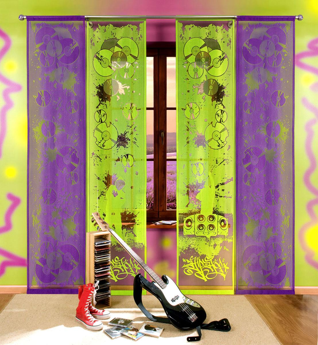 Комплект гардин-панно Hip-hop, на кулиске, цвет: зеленый, фиолетовый, высота 240 см700608Комплект гардин-панно Hip-hop, изготовленный из полиэстера, станет великолепным украшением любого окна. В комплект входят две гардины зеленого цвета и две гардины фиолетового цвета. Оригинальный принт в виде музыкальных дисков и граффити, яркая цветовая гамма привлекут к себе внимание и органично впишутся в интерьер комнаты. Все элементы комплекта оснащены кулиской для крепления на круглый карниз. Характеристики: Материал: 100% полиэстер. Размер упаковки: 27 см х 34 см х 3 см. Артикул: 700608. В комплект входит: Гардина-панно - 4 шт. Размер (Ш х В): 50 см х 240 см. Фирма Wisan на польском рынке существует уже более пятидесяти лет и является одной из лучших польских фабрик по производству штор и тканей. Ассортимент фирмы представлен готовыми комплектами штор для гостиной, детской, кухни, а также текстилем для кухни (скатерти, салфетки, дорожки, кухонные занавески). Модельный ряд отличает оригинальный дизайн, высокое качество....