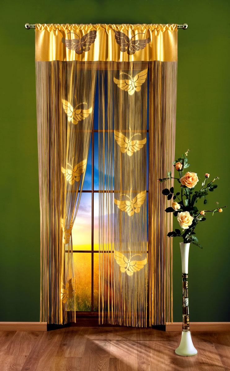 Гардина-лапша Zlote Motyle, на кулиске, цвет: желтый, высота 240 см700622Гардина-лапша Zlote Motyle, изготовленная из полиэстера желтого цвета, станет великолепным украшением окна, дверного проема и прекрасно послужит для разграничения пространства. Гардина украшена бахромой и изображением мотыльков. Необычный дизайн и яркое оформление привлекут внимание и органично впишутся в интерьер. Гардина-лапша оснащена кулиской для крепления на круглый карниз.