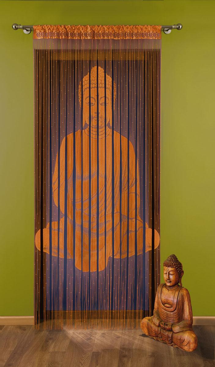 Гардина-лапша Budda, на кулиске, цвет: оранжевый, высота 240 см704149Воздушная гардина-лапша Budda, изготовленная из полиэстера оранжевого цвета, станет великолепным украшением любого окна. Тонкое плетение, оригинальный принт привлекут к себе внимание и органично впишется в интерьер комнаты. Верхняя часть гардины оснащена кулиской для крепления на круглый карниз.