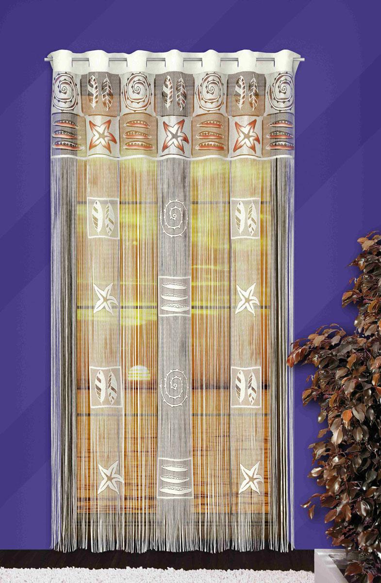 Гардина-лапша Afrodyta, на петлях, цвет: белый, высота 250 см710744Гардина-лапша Afrodyta, изготовленная из полиэстера белого цвета, станет великолепным украшением любого окна. Гардина-лапша отличается от других видов гардин тем, что имеет основание, на которое крепится бахрома. Это отличное решение как для гардины на окно, так и для портьеры в дверной проем или просто занавески для разграничения пространства в комнате. Гардина-лапша оснащена петлями для крепления на круглый карниз.