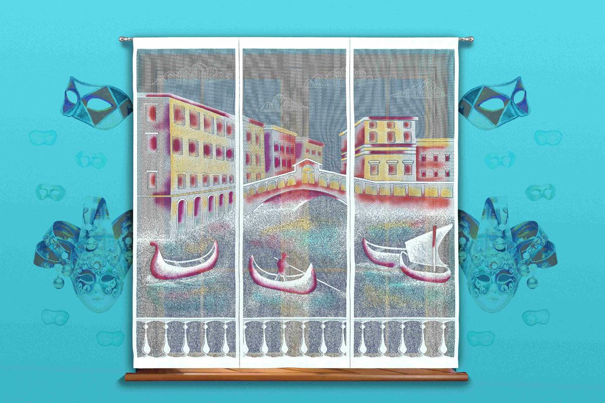 Гардина-панно Венеция, на кулиске, цвет: белый, высота 170 см718504Воздушная гардина-панно Венеция, изготовленная из полиэстера белого цвета, станет великолепным украшением любого окна. Тонкое плетение и рисунок гондолы и зданий привлечет к себе внимание и органично впишется в интерьер. Гардина оснащена кулиской для крепления на круглый карниз.