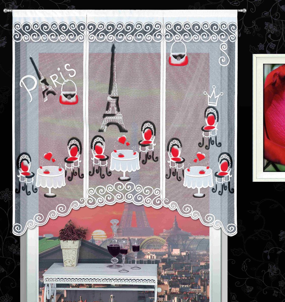 Гардина Kawiarenki, на кулиске, цвет: белый, высота 180 см718726Воздушная гардина Kawiarenki, изготовленная из полиэстера белого цвета, станет великолепным украшением любого окна. Оригинальный принт в виде кафе на фоне Эйфелевой башни привлечет к себе внимание и органично впишется в интерьер комнаты. Гардина оснащена кулиской для крепления на круглый карниз. Характеристики: Материал: 100% полиэстер. Размер упаковки: 27 см х 34 см х 3 см. Артикул: 718726. В комплект входит: Гардина - 1 шт. Размер (Ш х В): 150 см х 180 см. Фирма Wisan на польском рынке существует уже более пятидесяти лет и является одной из лучших польских фабрик по производству штор и тканей. Ассортимент фирмы представлен готовыми комплектами штор для гостиной, детской, кухни, а также текстилем для кухни (скатерти, салфетки, дорожки, кухонные занавески). Модельный ряд отличает оригинальный дизайн, высокое качество. Ассортимент продукции постоянно пополняется.