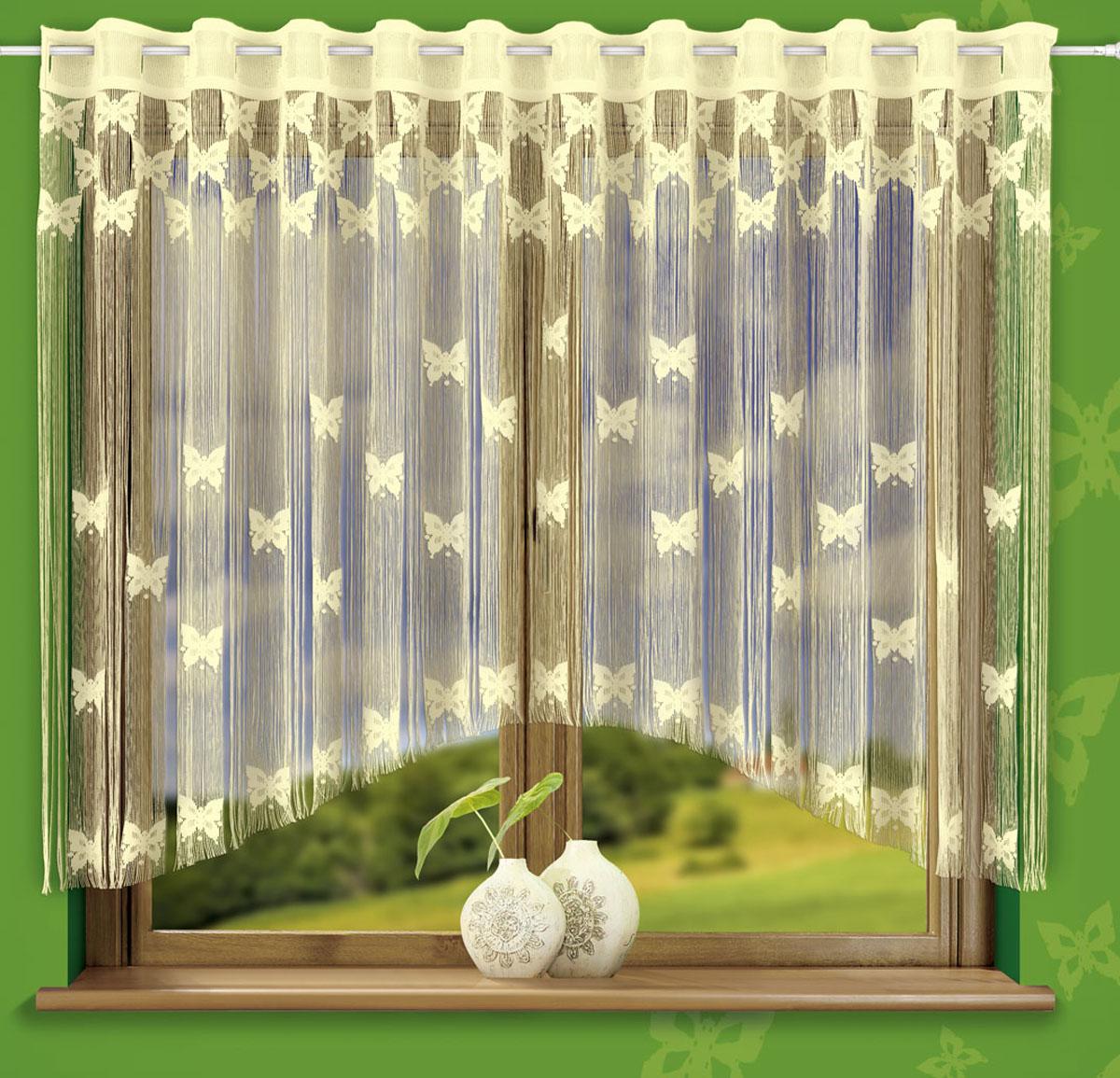 Гардина-лапша Wisan Motylki, на петлях, цвет: кремовый, высота 160 см722549Гардина-лапша Wisan Motylki, изготовленная из высококачественного полиэстера, станет великолепным украшением любого окна. Оригинальный дизайн и нежная цветовая гамма привлекут к себе внимание и органично впишутся в интерьер комнаты. Красивое оформление изделия внесет разнообразие и подарит заряд положительного настроения. Гардина-лапша оснащена петлями для крепления на круглый карниз. Высота петли: 6,5 см.